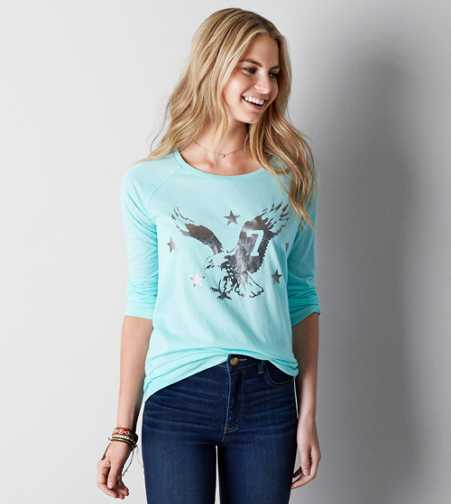 AEO Long Sleeve Eagle Graphic T-Shirt