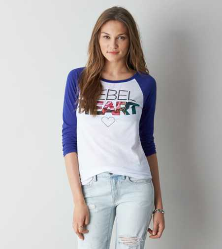 AEO Rebel Heart Graphic Baseball T-Shirt