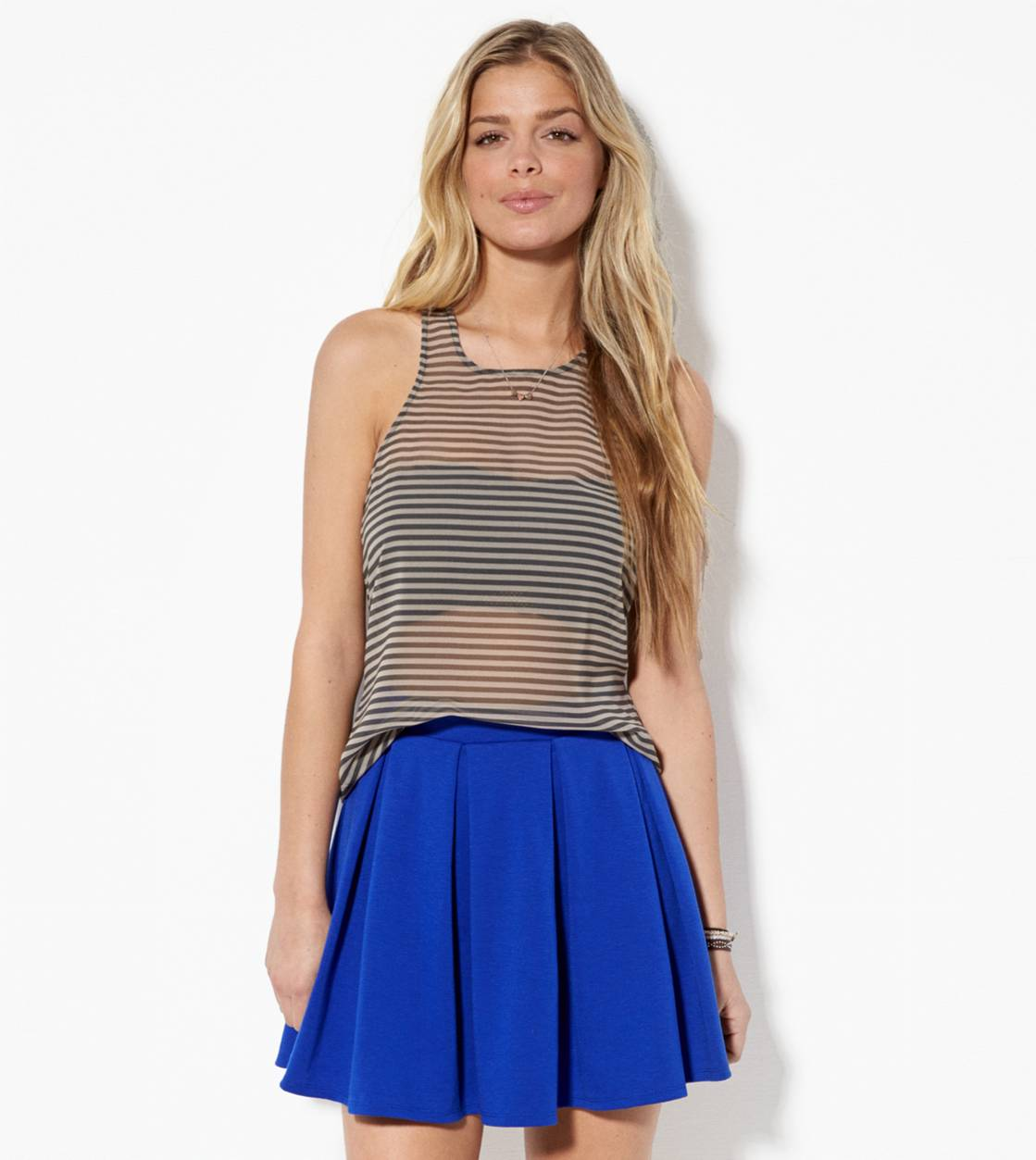 Cobalt Blue AE Pleated Circle Skirt