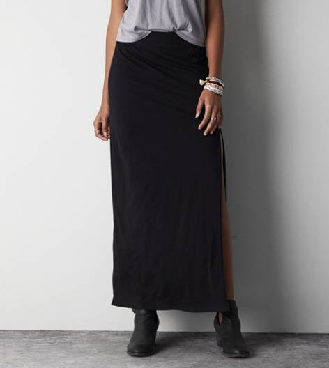 True Black AEO Front Slit Maxi Skirt