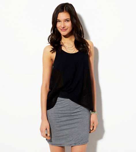 Heather Grey AE Jersey Pencil Skirt
