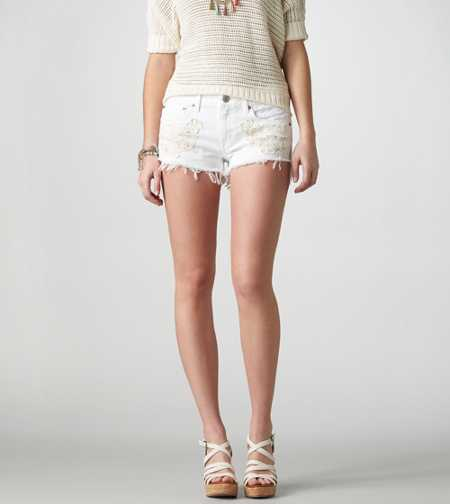 AE Crocheted Denim Shortie