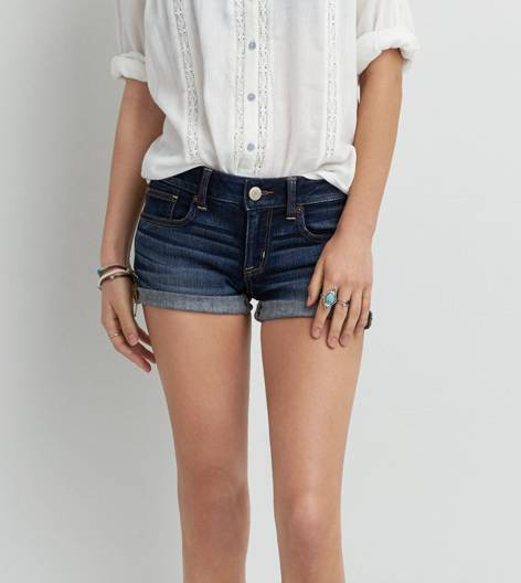 Medium Wash AEO Dark Denim Shortie