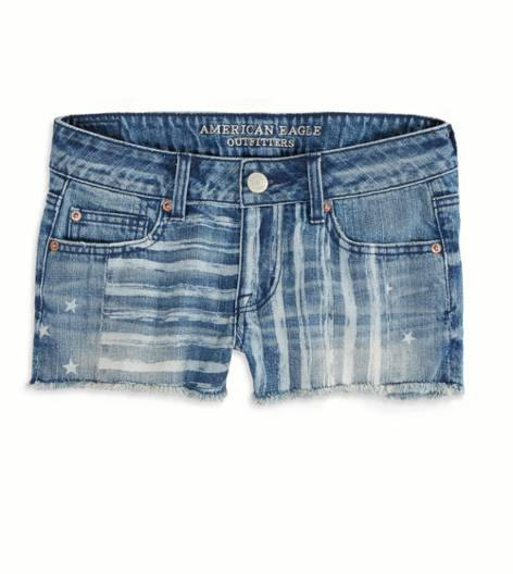 Light Wash AE Stars & Stripes Denim Shortie