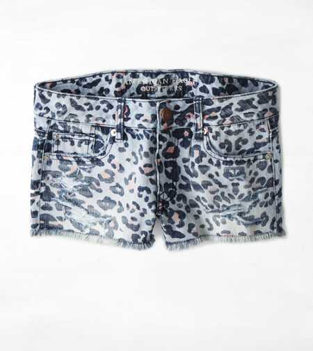 AEO Leopard Print Denim Short