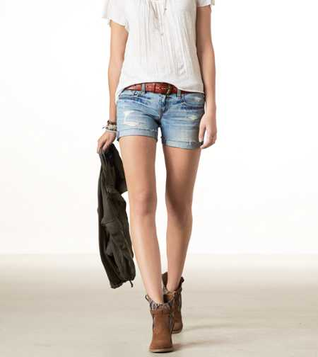 AE Destroyed Denim Midi Short - Take 40% Off