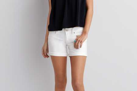 AE White Denim Midi Short