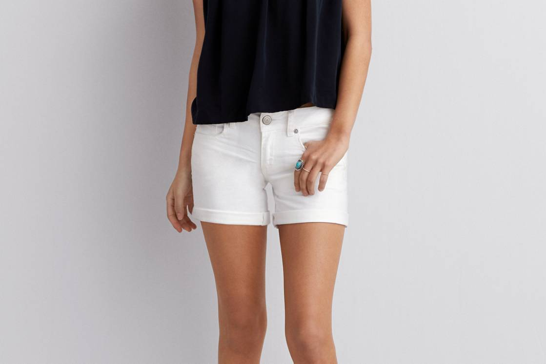 White  AE White Denim Midi Short