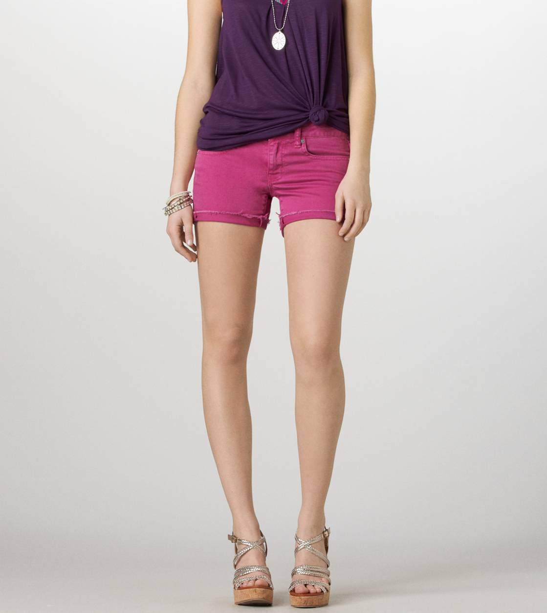 Purple AE Colored Denim Midi Short