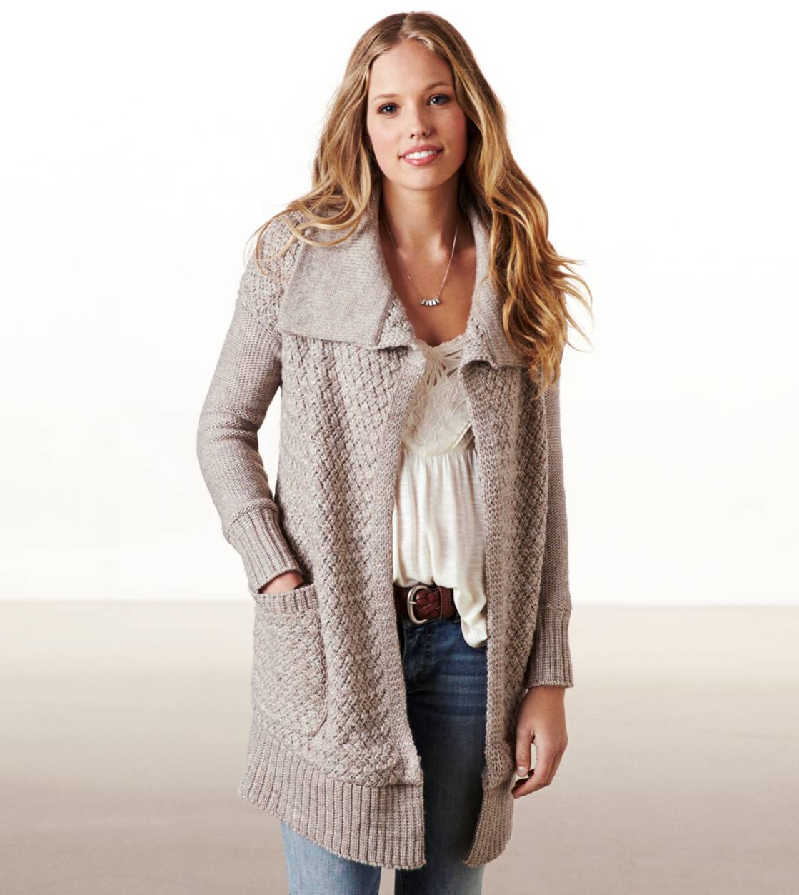 Brown Heather AE Shimmer Stitch Sweater Coat