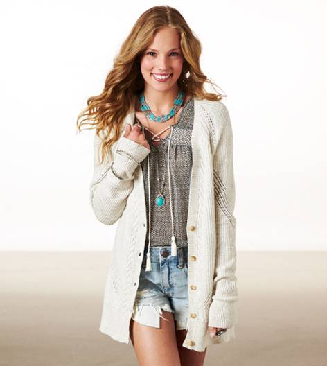 Cream AE Real Soft Mixed Stitch Cardigan