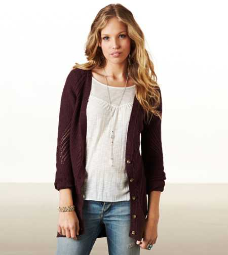 AE Real Soft Mixed Stitch Cardigan