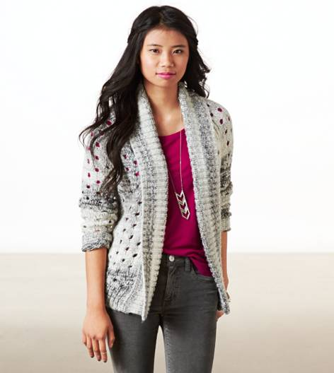 Grey AE Open Metallic Knit Cardigan