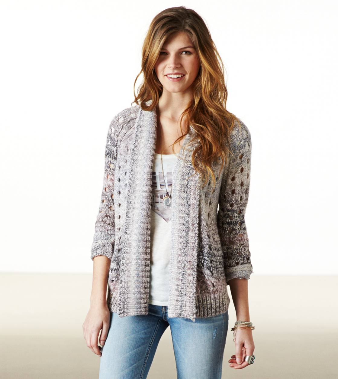 Purple AE Open Metallic Knit Cardigan