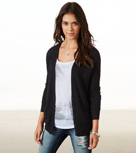 True Black AE Mesh Knit Cardigan