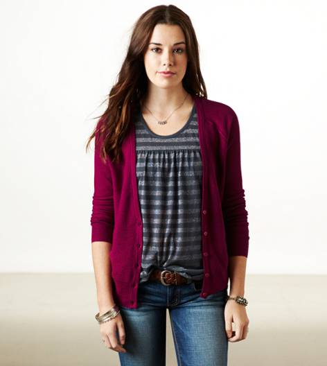 Berry  AE Mesh Knit Cardigan
