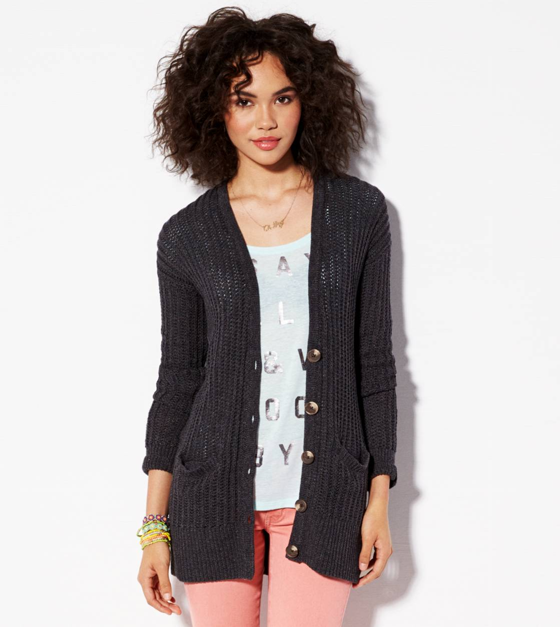 Black Jaspe AE Ribbed Cardigan