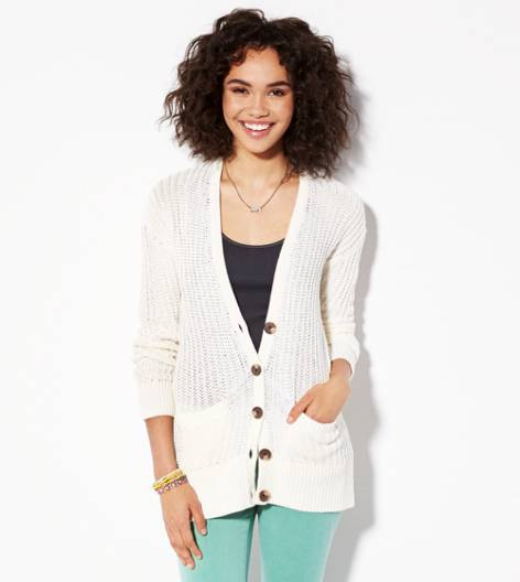 Cream AE Ribbed Cardigan
