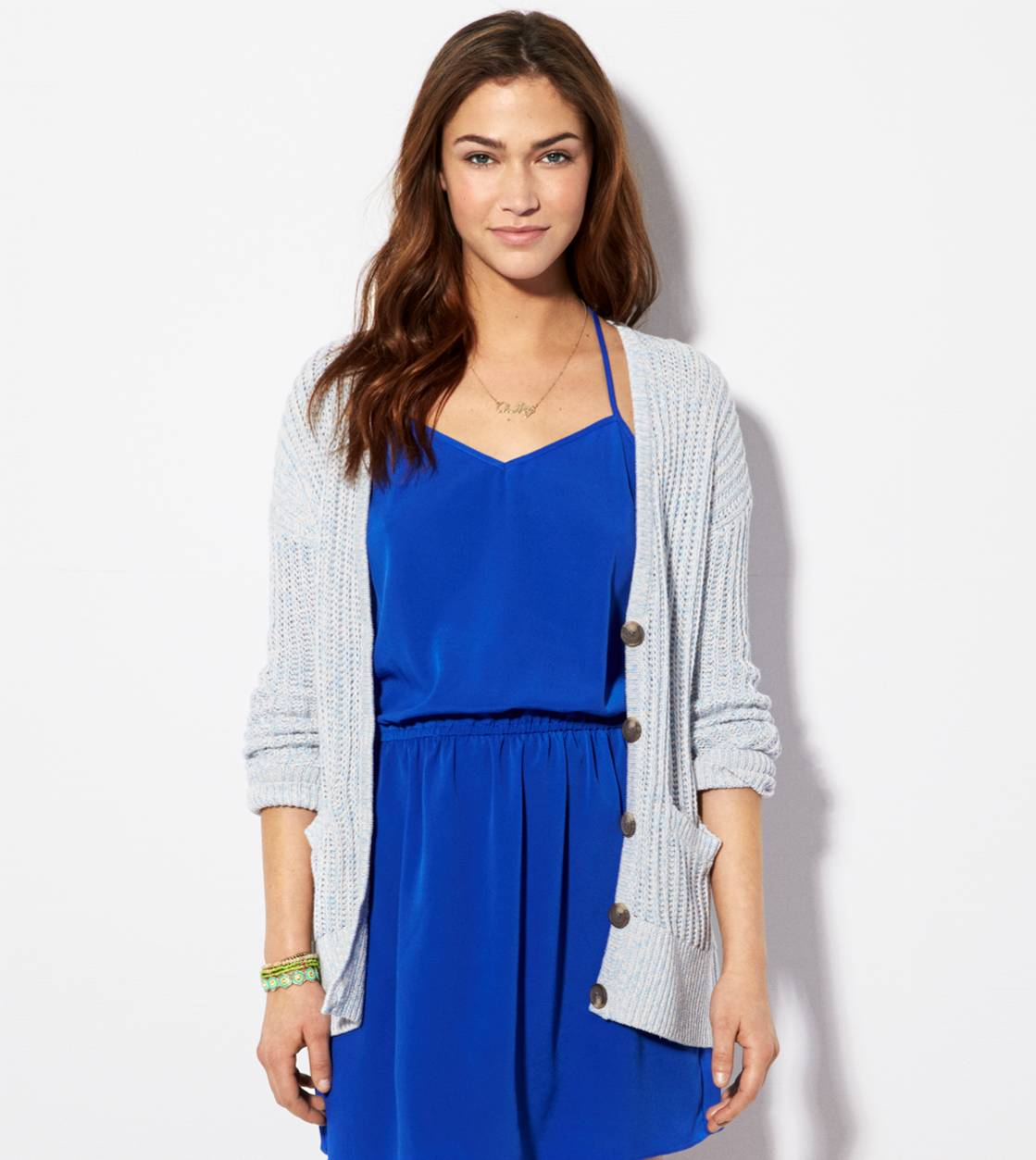 Blue AE Ribbed Cardigan