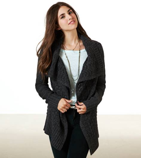 Charcoal AE Shine Knit Open Cardigan