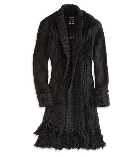 AE Open Fringe Sweater Coat