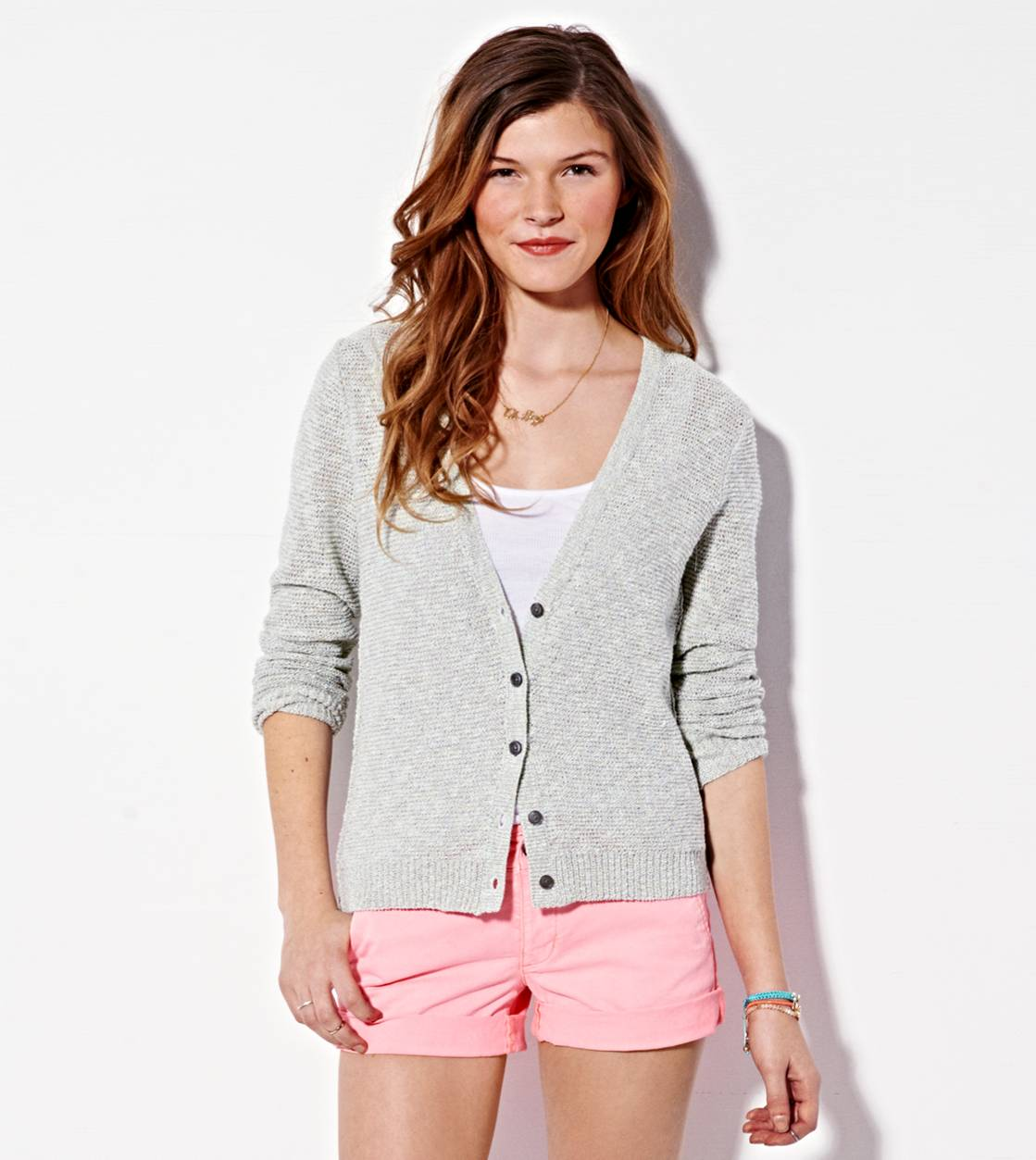 Mint AE Reverse Ribbed Cardigan