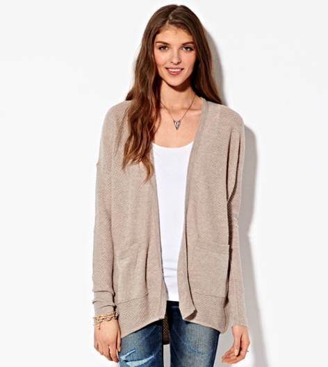 Heather Brown AE Waffled Boyfriend Cardigan