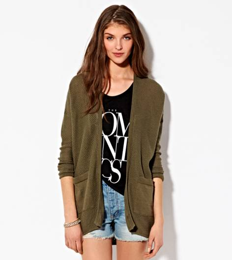 Green AE Waffled Boyfriend Cardigan