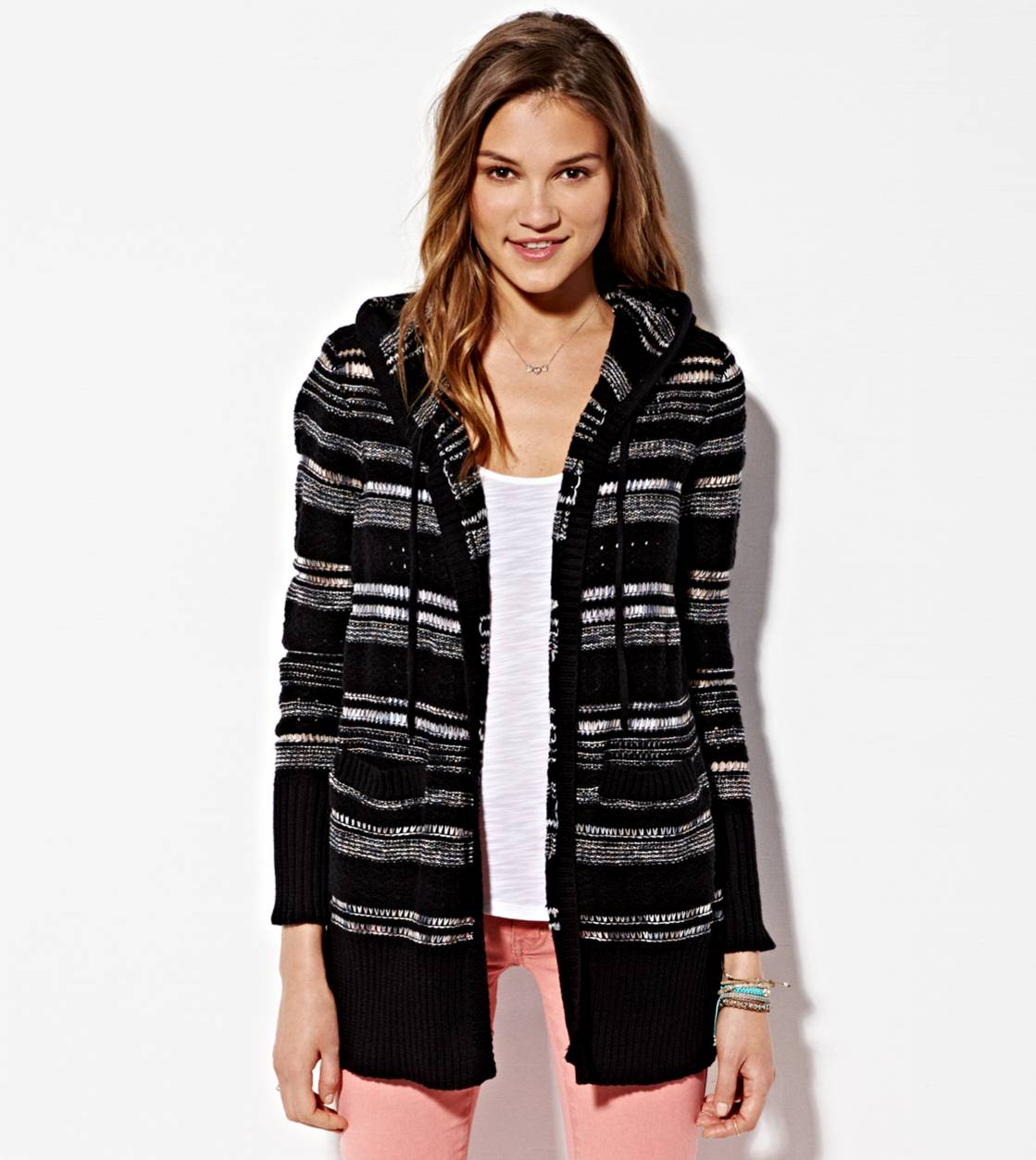 Black AE  Hooded Striped Stitch Cardigan