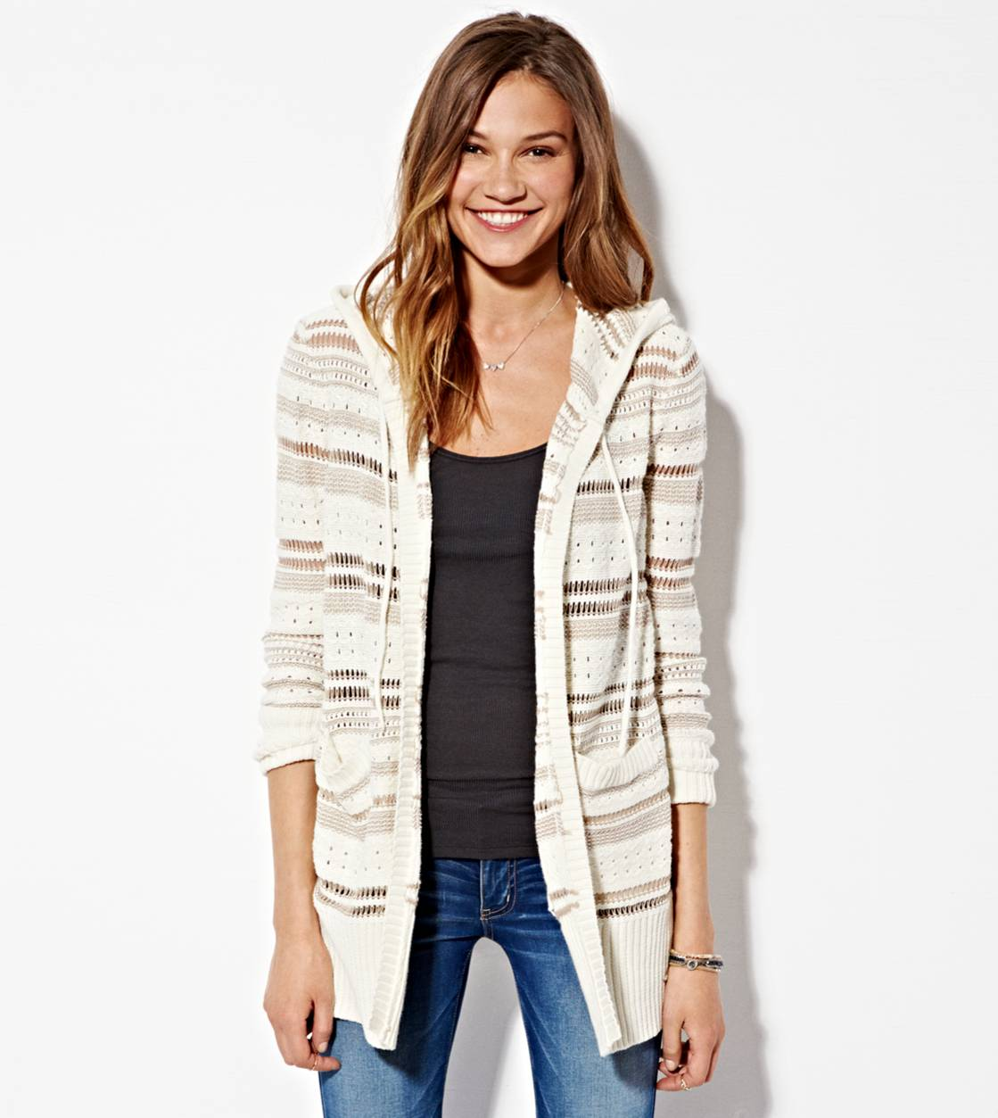 Cream AE  Hooded Striped Stitch Cardigan