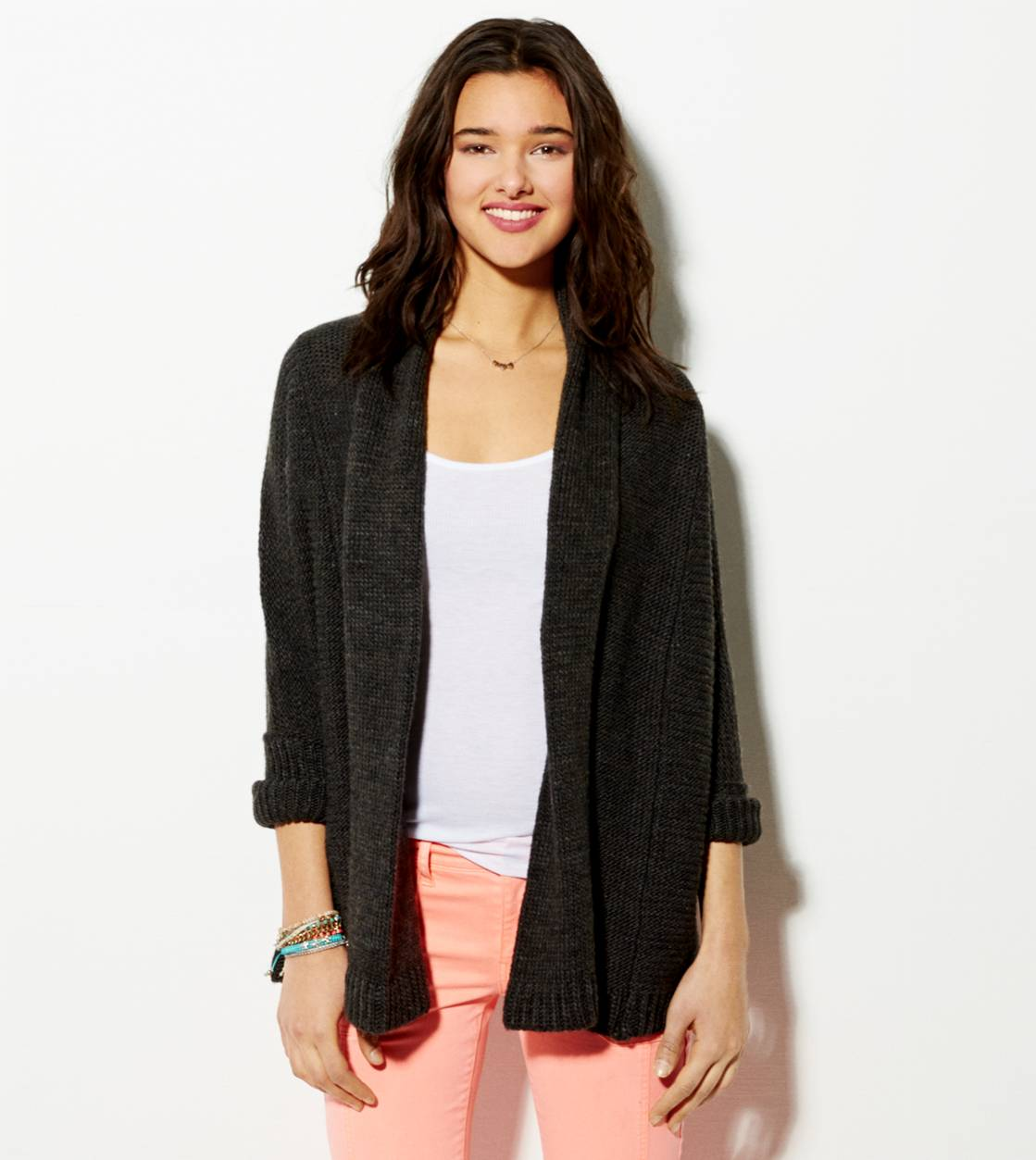 Charcoal AE Shawl Collar Open Cardigan