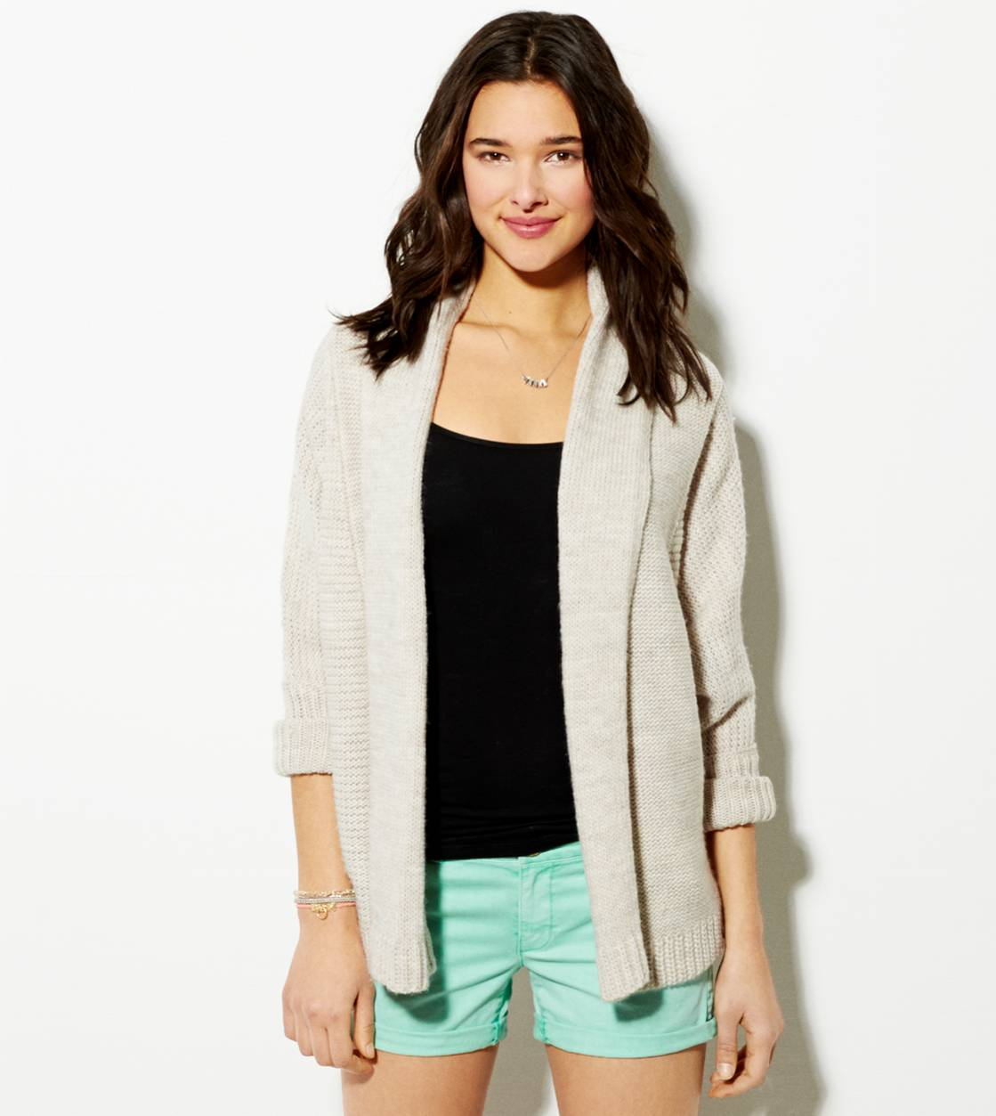 Cream AE Shawl Collar Open Cardigan