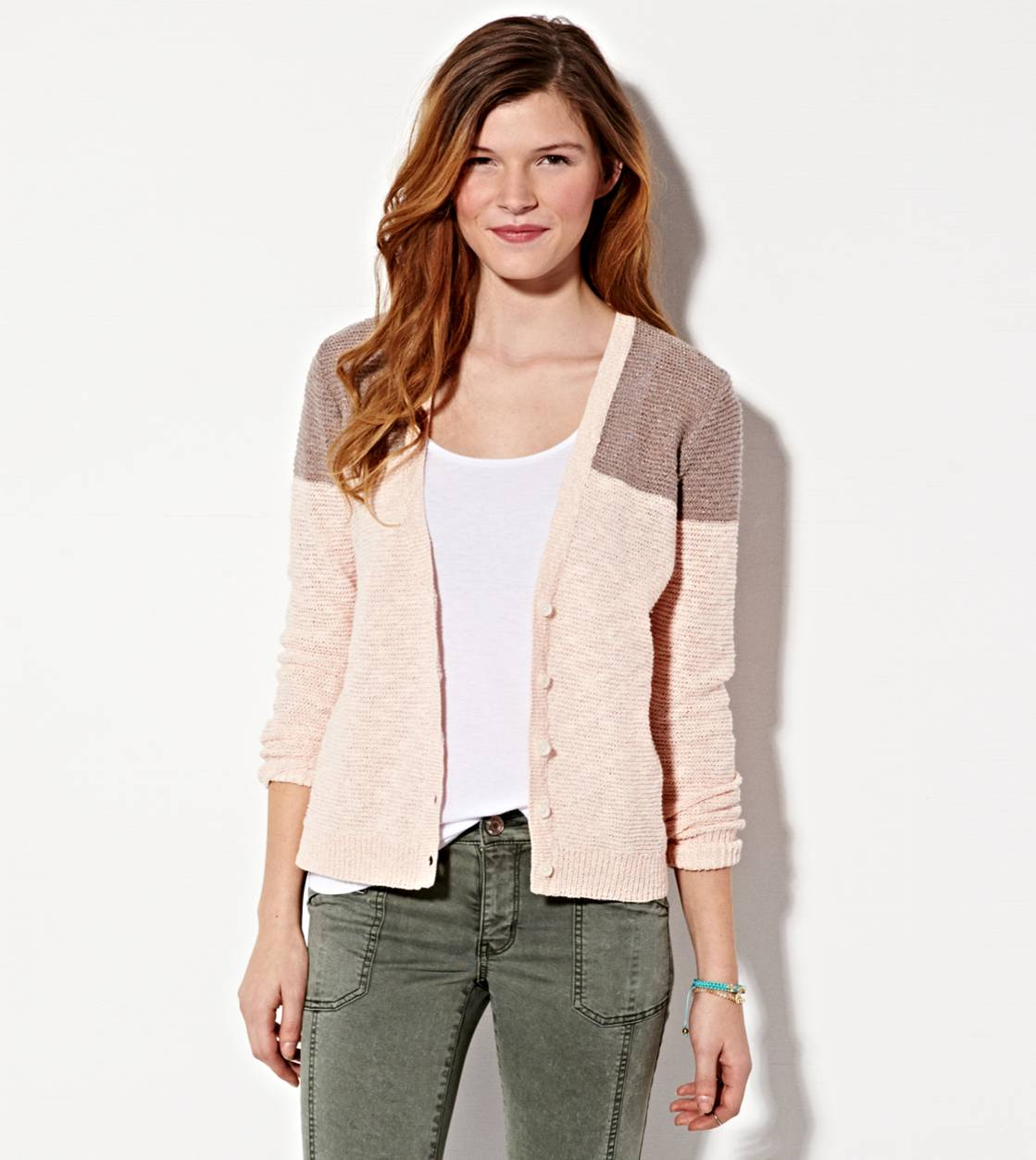 Oatmeal AE Colorblock Reverse Ribbed Cardigan