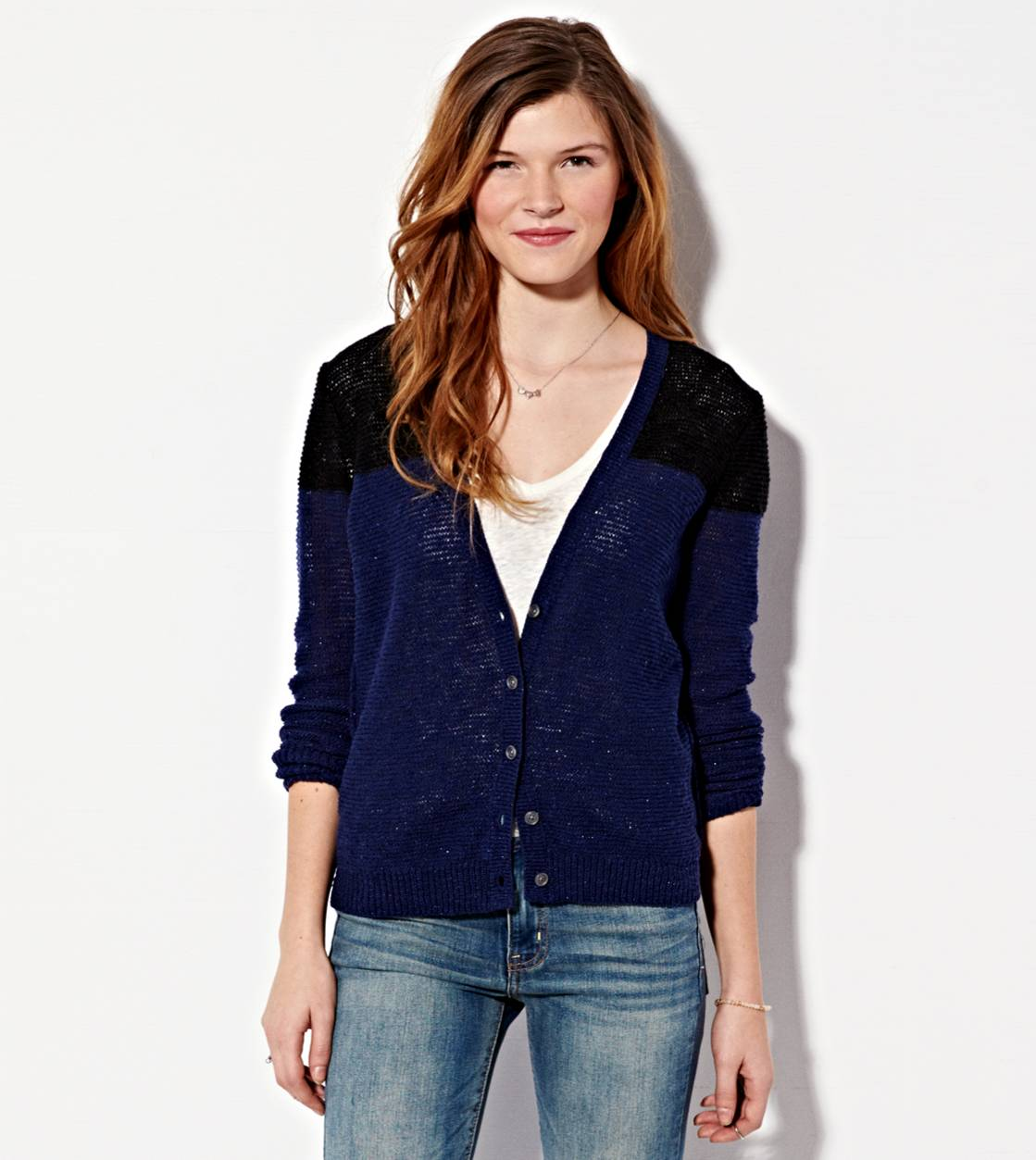 Navy AE Colorblock Reverse Ribbed Cardigan