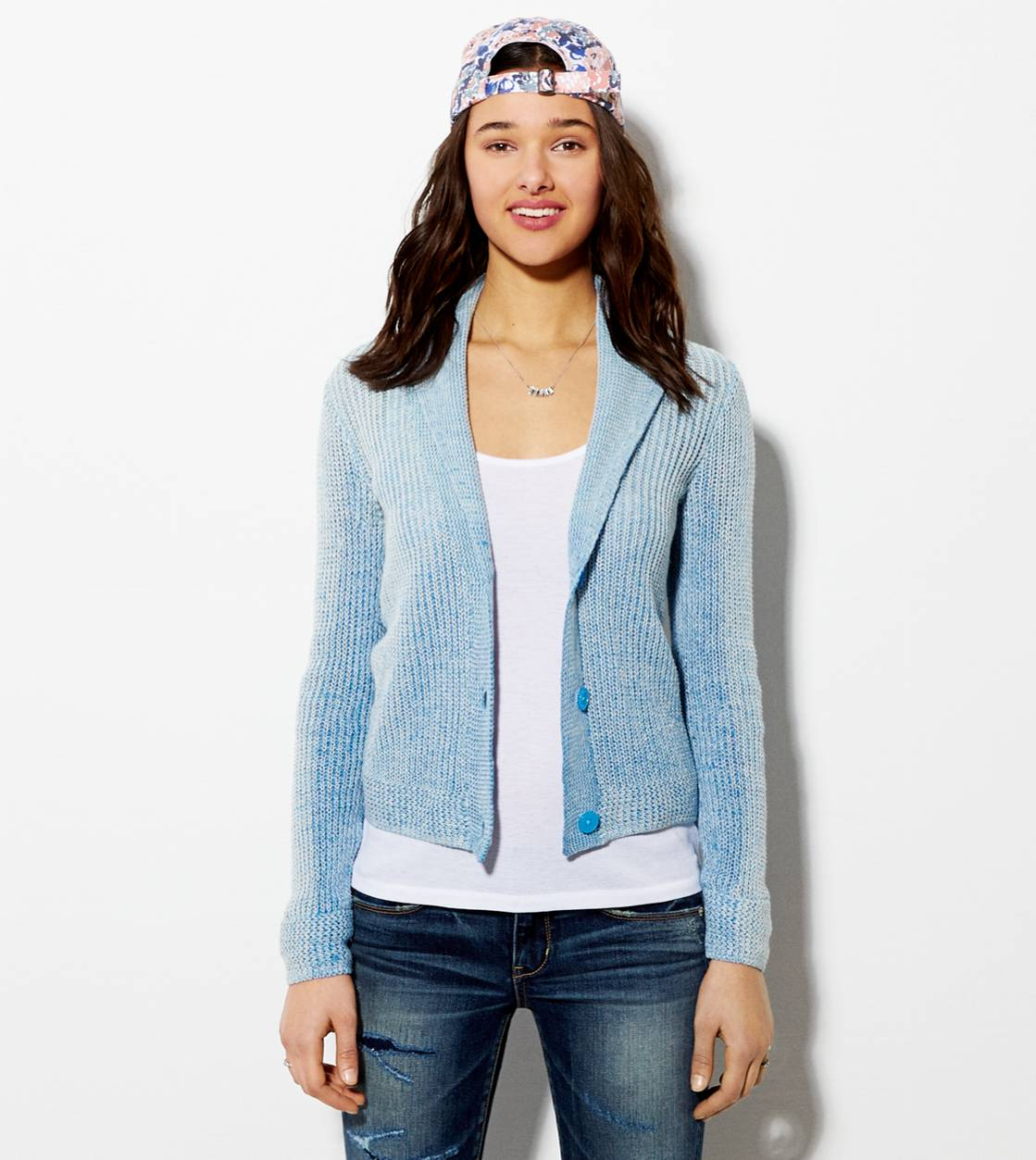 Light Blue AE Shawl Collar Cardigan