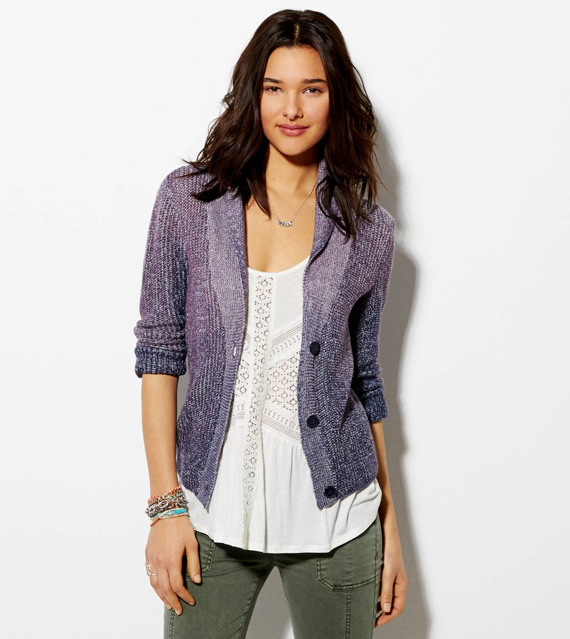 Purple AE Shawl Collar Cardigan