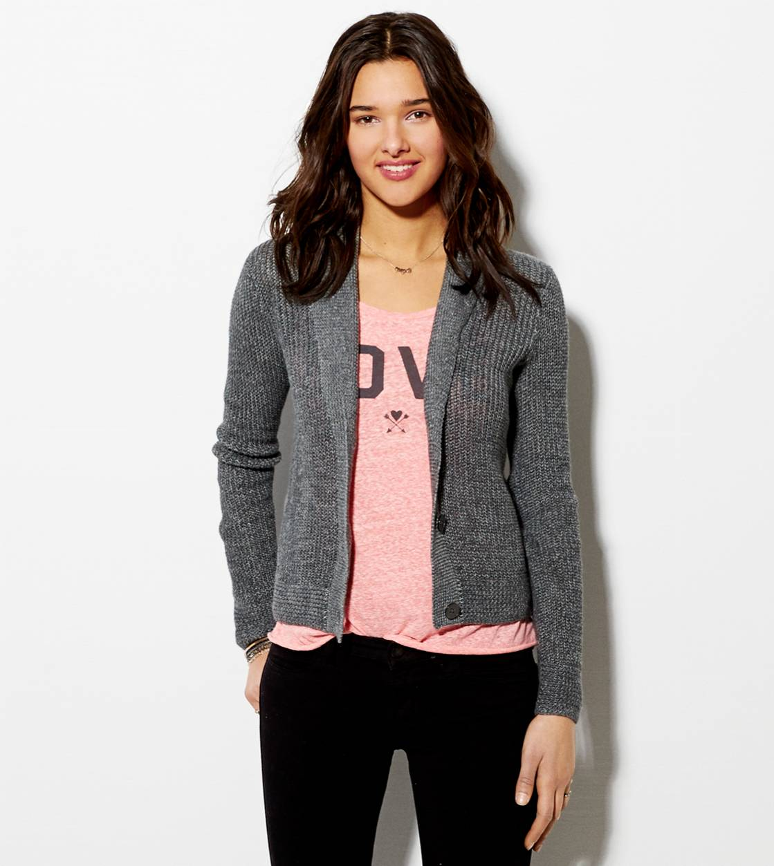 Grey AE Shawl Collar Cardigan