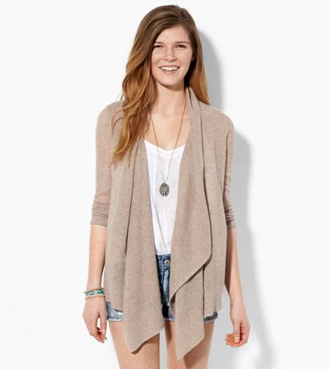 Heather Brown AE Cascading Open Cardigan