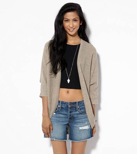 Heather Brown AE Slouchy Waffled Cardigan