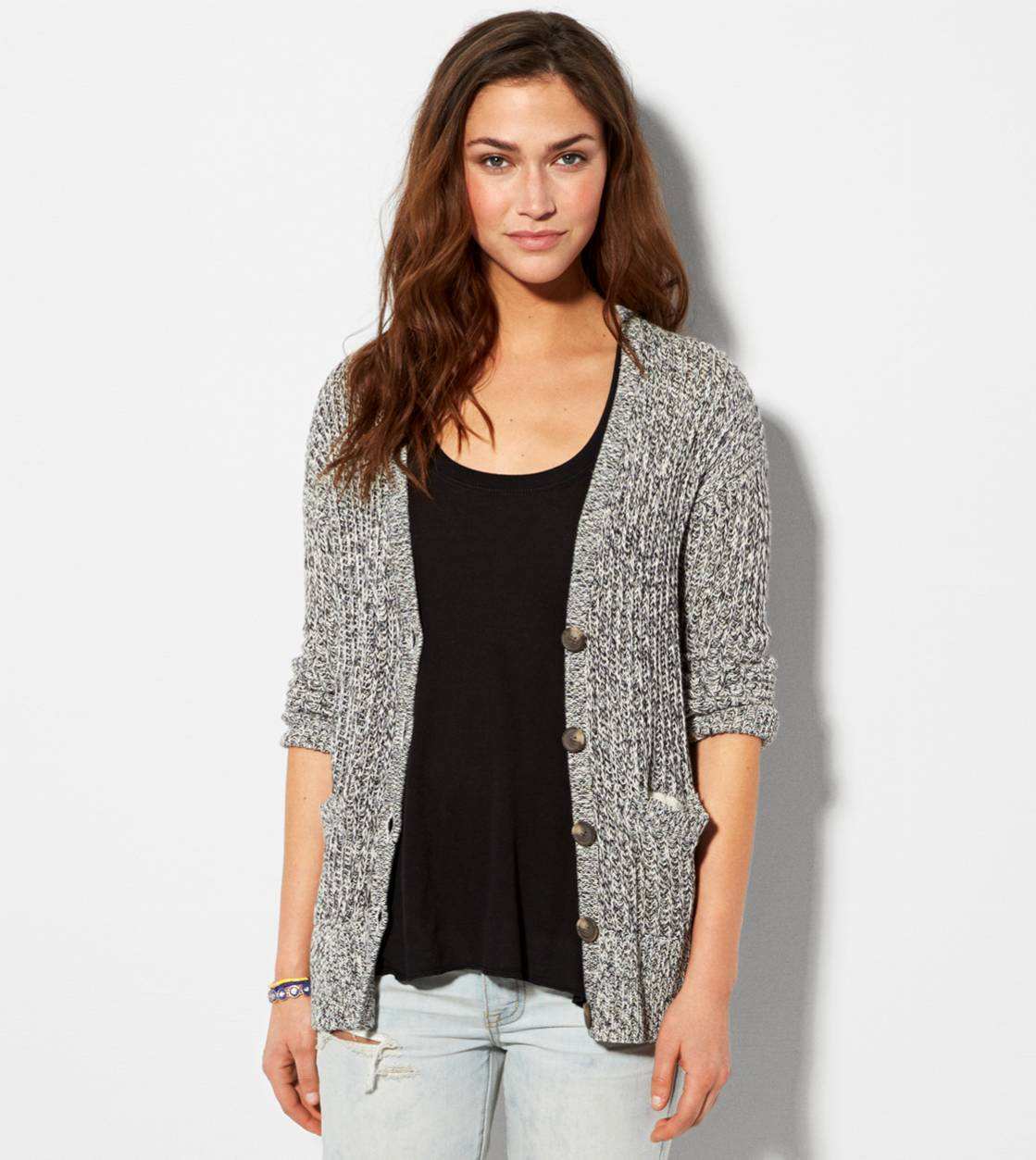 Black AE Ribbed Cardigan