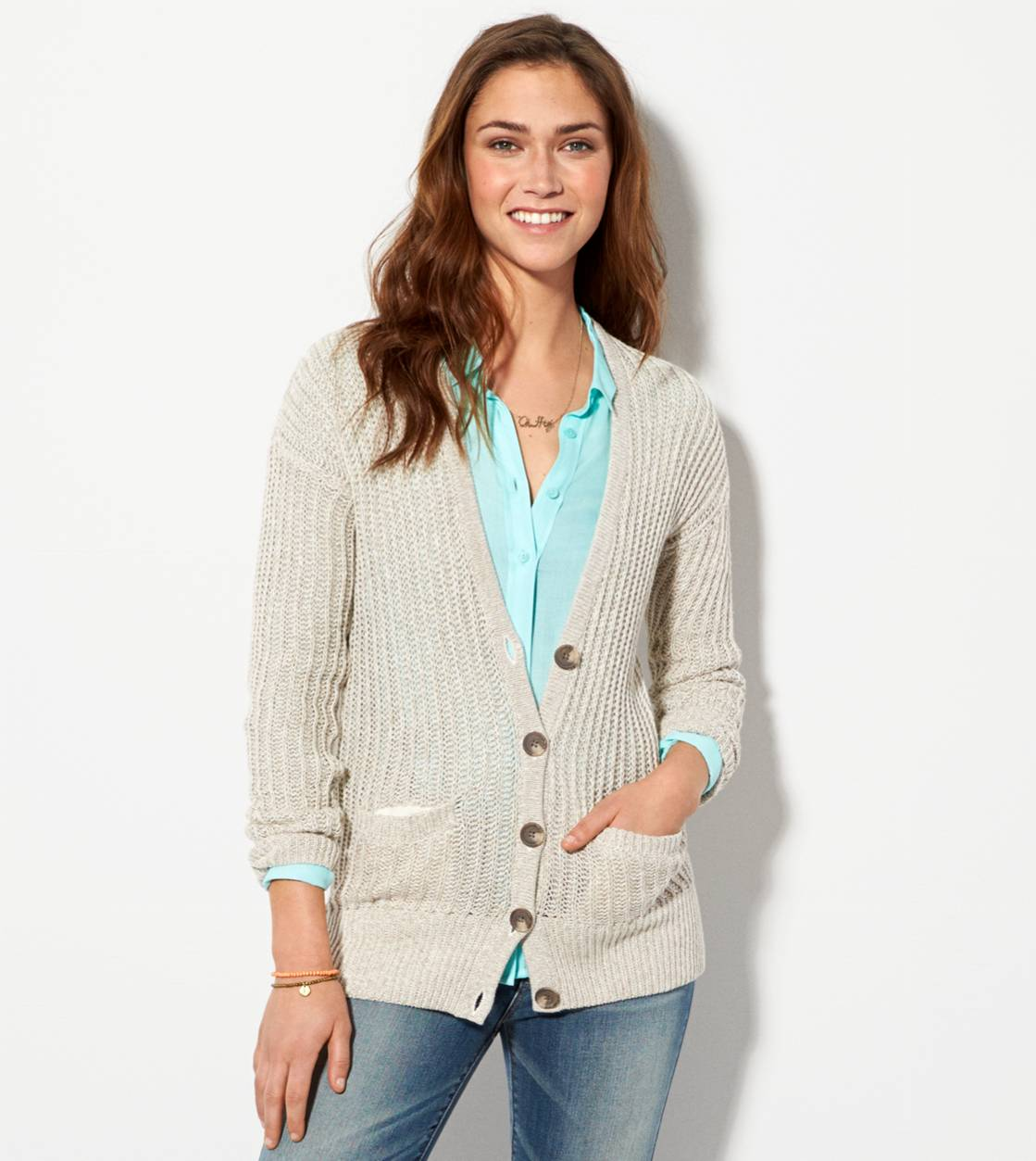 Heather Brown AE Ribbed Cardigan