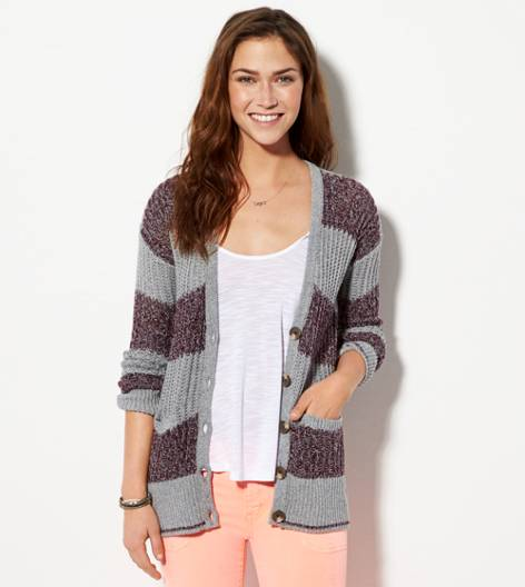 Grey AE Open Ribbed Cardigan