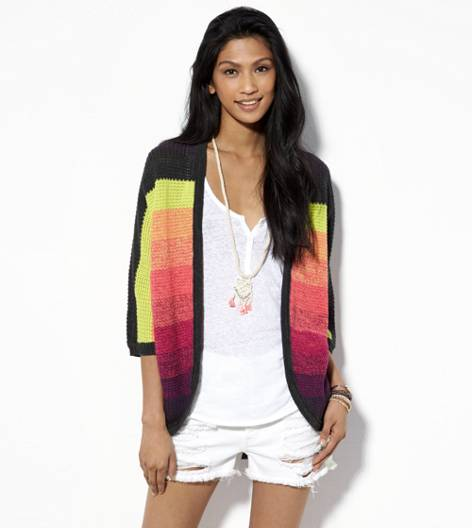 Multi AE Bright Ombre Open Cardigan