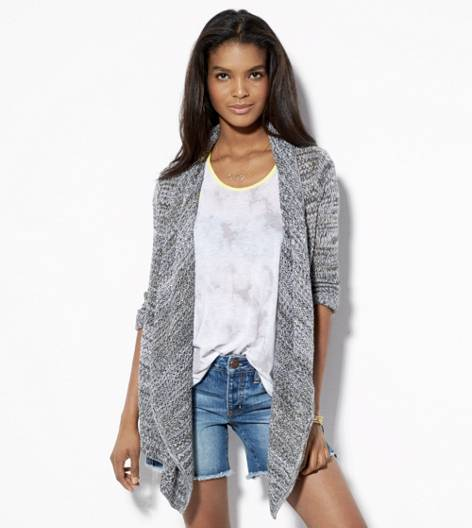 Black Marl AE Heathered Open Cardigan