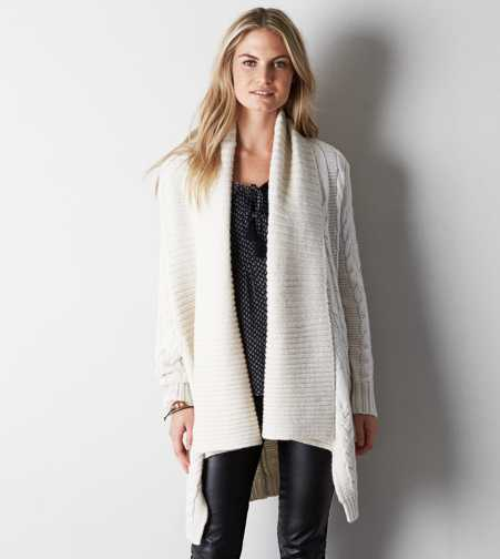 AEO Shawl Collar Cable Knit Cardigan - Buy One Get One 50% Off