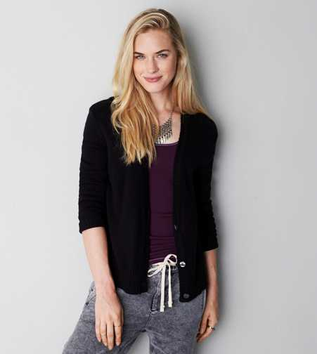 AEO Shimmer Trim Cardigan - Buy One Get One 50% Off