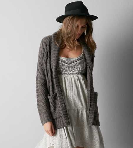 AEO Chunky Cable Knit Cardigan