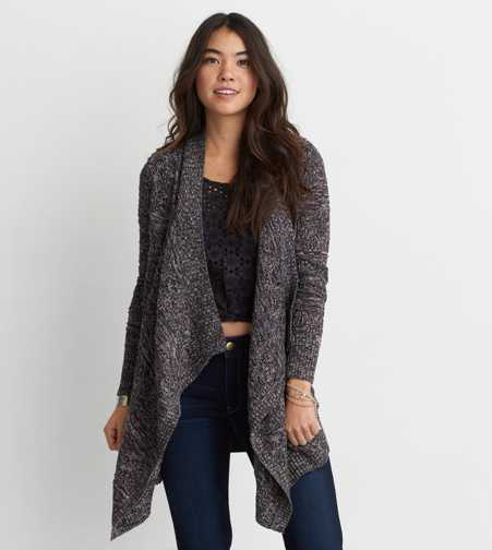 AEO Pointelle Waterfall Cardigan