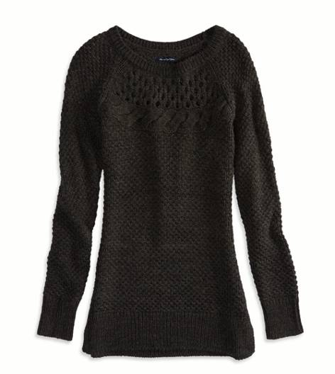 Charcoal AE Cable Detail Sweater