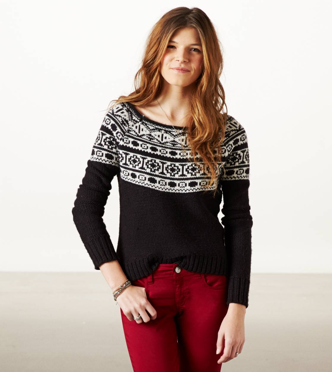 Black AE Fair Isle Crew Sweater
